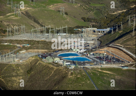 aerial view above electricity distribution Diablo Canyon nuclear power plant Avila Beach California - Stock Photo