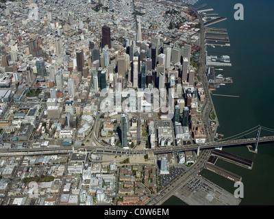aerial view above central business financial district downtown San Francisco California - Stock Photo