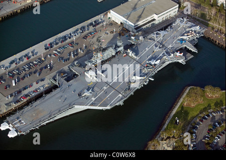 aerial view above USS Midway aircraft carrier museum ship San Diego California - Stock Photo