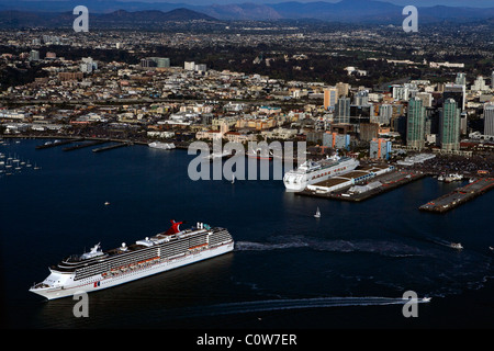 aerial view above Carnival Cruise Lines Ship Spirit San Diego harbor California - Stock Photo