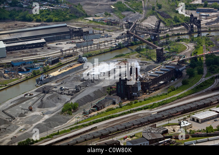 aerial view above steel industrial area Cuyahoga river Cleveland Ohio - Stock Photo