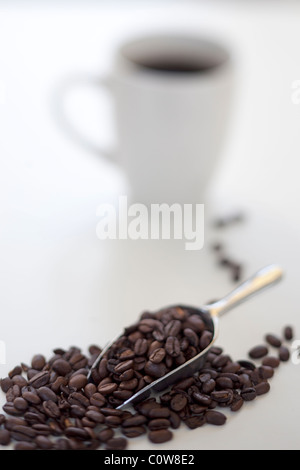 scoop of coffee beans with coffee cup in background - Stock Photo