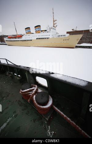 Finland, Turku, 20110204, port in Turku, - Stock Photo