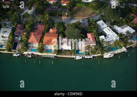 aerial view above waterfront pools Rivo Alto island Venitian Islands Biscayne Bay Miami Florida