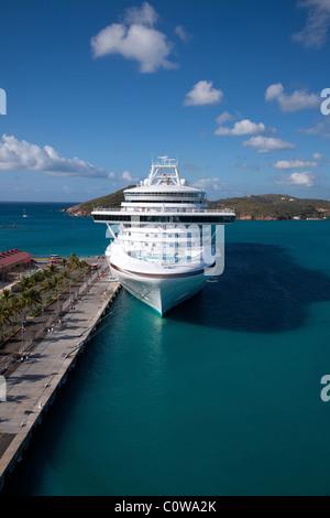 Cruise Ship in Charlotte Amalie, Saint Thomas Bay, USVI - Stock Photo