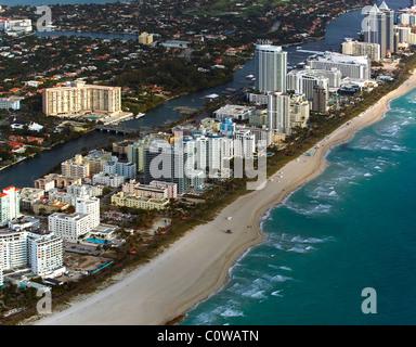 aerial view above Miami Beach Florida - Stock Photo
