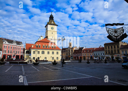 Council Square ('Piata Sfatului') in Brasov, Romania - Stock Photo