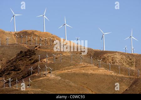 Wind turbine farm - western edge of the Mojave Desert, California. - Stock Photo