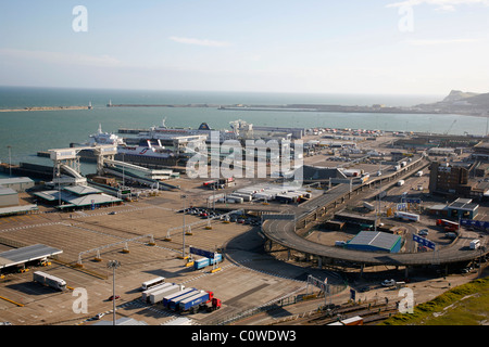 View over Dover Port, Kent, England, UK. - Stock Photo