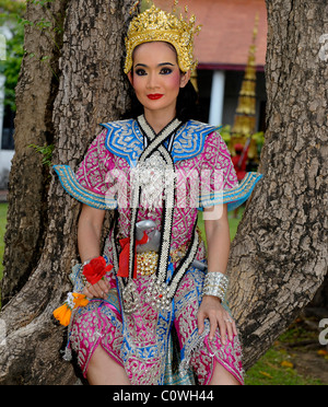 thai classical dancer at the bangkok musuem weekend show , bangkok, Thailand - Stock Photo