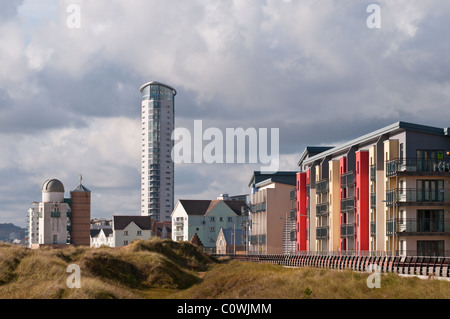 Swansea Bay Sea front Apartments, South Wales. UK. - Stock Photo