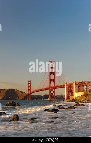 Usa, California, San Francisco, Baker's Beach and Golden Gate Bridge - Stock Photo