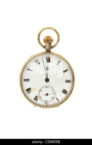 Antique pocket watch set at two minutes to twelve - Stock Photo