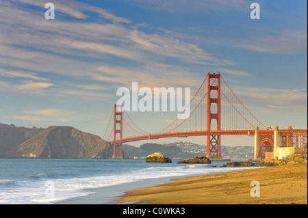 Usa, California, San Francisco, Baker's Beach and Golden Gate Bridge - Stock Photo