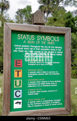 Orlando Florida Sanford Central Florida Zoo & and Botanical Gardens sign information directory endangered threatened - Stock Photo