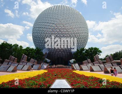 Daytime photo of Spaceship Earth at the Epcot Center, Walt Disney World, Florida - Stock Photo
