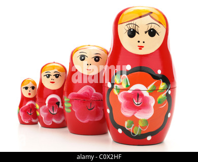 Set of four red Russian Dolls - Stock Photo