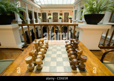 Chess Set And Atrium At Hotel Patio Andaluz   Quito, Ecuador   Stock Photo