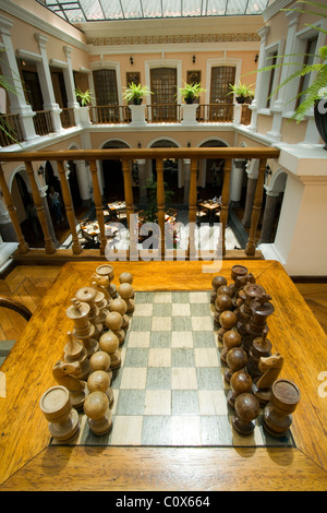 ... Chess Set And Atrium At Hotel Patio Andaluz   Quito, Ecuador   Stock  Photo
