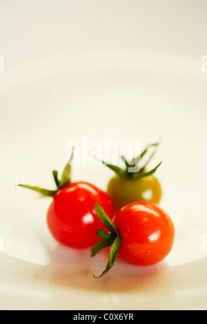 Jewels: colourful cherry tomatoes fresh picked organic from the back garden - Stock Photo