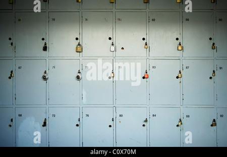 Old wooden lockers in corridor - Stock Photo