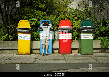 Recycling bins, New Zealand. - Stock Photo