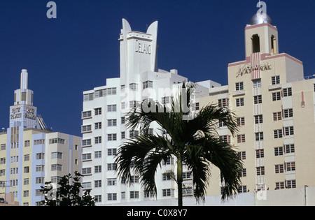 Ritz Plaza, Delano and National hotels - Collins Avenue - Miami - Florida - Stock Photo