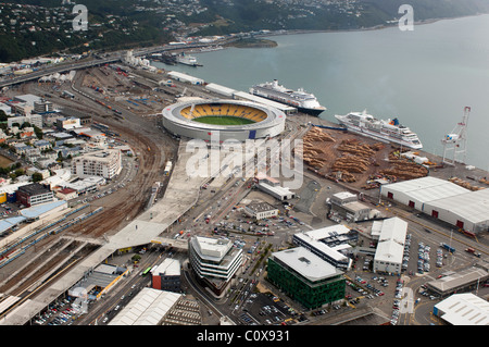 Cruise ships, Volendam and Europa docked beside the Westpac sports stadium in Wellington New Zealand. - Stock Photo