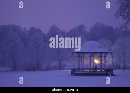 Bandstand, Quarry Park, in winter snow, evening, Shrewsbury, Shropshire, England, UK, United Kingdom, GB, Great - Stock Photo