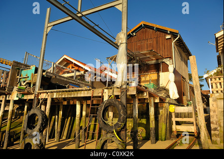 Oyster farmer's houses in the Village du Canon, Cap Ferret, department of Gironde, France - Stock Photo
