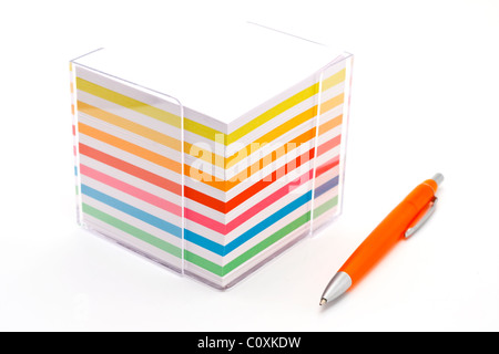 Note paper colorful block and pen on white background - Stock Photo
