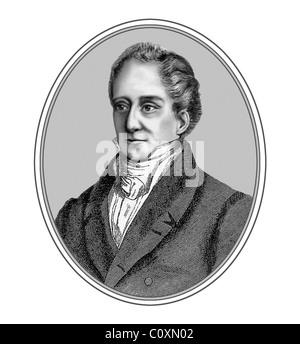 August Wilhelm von Schlegel 1767 1845 German Scholar Critic Illustration from an Engraving - Stock Photo