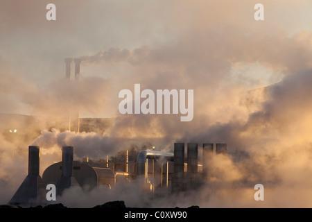 the Svartsengi Geo Thermal power plant located in Keflavik in Iceland on the Reykjanes Peninsula - Stock Photo