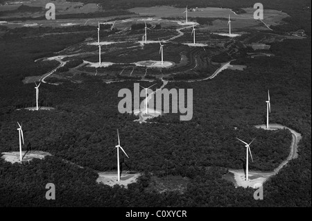 aerial view above wind turbines deciduous forest Appalachian mountains Pennsylvania - Stock Photo