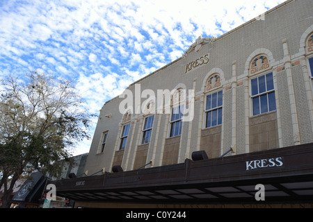 Kress Building on Main Street in Sarasota is a listed historic landmark. The Art Deco building is on the National - Stock Photo