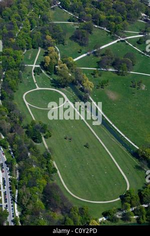 aerial view above Englischer Garten Munich Germany - Stock Photo