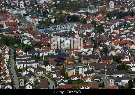 aerial view above Augsburg Germany - Stock Photo