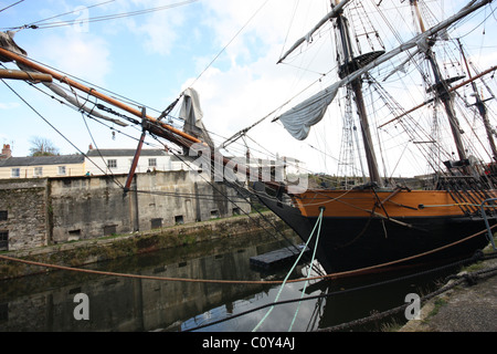 Tall Ships in Charlestown  harbour, Cornwall - Stock Photo