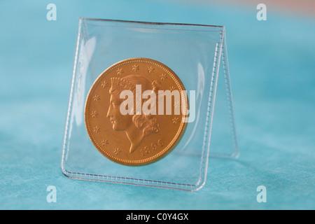coin collection double eagle gold coin USA money - Stock Photo