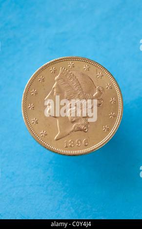 double eagle gold coin USA money 20 dollar collectable - Stock Photo