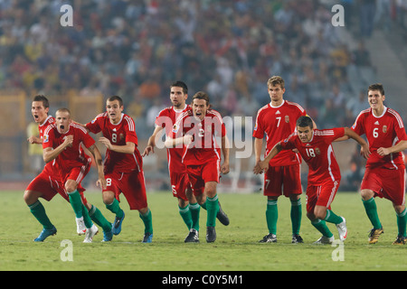 Hungary players react after winning the 2009 FIFA U-20 World Cup third place match on penalty kicks against Costa - Stock Photo