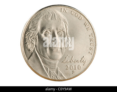 2010 US nickel coin. The face value of 5 cents is now less than the value of the metals in the coin. - Stock Photo
