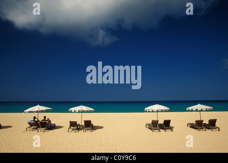 Chaises loungers and parasols on beach in Phuket Southern Thailand - Stock Photo