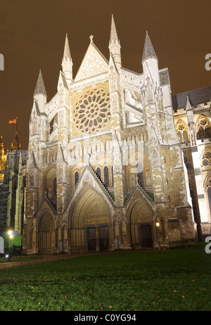 Westminster Abbey north door at night. - Stock Photo