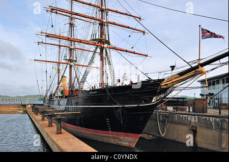 Royal Research Ship Discovery famous by explorer Robert Falcon Scott at Discovery Point, Dundee, Scotland, UK - Stock Photo