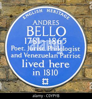 English Heritage Blue plaque commemorating Andres Bello a Venezuelan Patriot Poet Jurist & Philologist lived in - Stock Photo