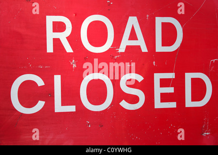 'Road Closed' sign, UK - Stock Photo