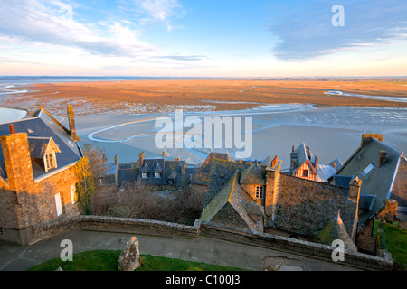view from Mont Saint-Michel abbey, Brittany, France. another Mont Saint-Michel shots available - Stock Photo