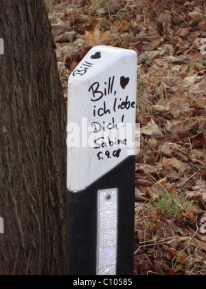 Fans left a message on a road pole next to the house that Bill Kaulitz and Tom Kaulitz of Tokio Hotel grew up in. - Stock Photo