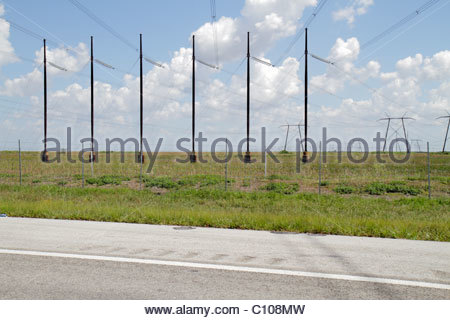 Florida The Everglades Alligator Alley utility poles lines wires visual pollution ugly - Stock Photo